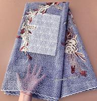 erstaunliches spitzengewebe großhandel-Klassische Tüllspitze Runde Stickerei Afrikanischer französischer Spitze Stoff mit Steinen Hohe Qualität Perfekt Erstaunlich 5 Yards / pc