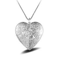 украшения для дня матери оптовых-Серебряный любовь в форме сердца фото box богемный ожерелье кулон для женщин матери День подарок ювелирные изделия 2018