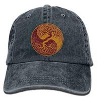 Wholesale japanese unisex cap hat - Glitter Yin Yang Bonsai Tree Japanese Classic Unisex Baseball Cap Hat Adjustable Washed Dyed Cotton Ball Hat Multi-color optional
