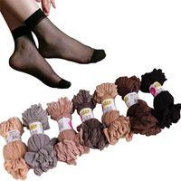 meias de nácar de seda venda por atacado-2019 verão sexy ultrafinos transparentes de cristal meias de seda para as mulheres alta elástica nylon preto meias curtas meias femininas 20 pares / lote