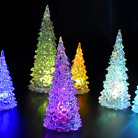 Wholesale lights for candles resale online - arbol navidad New Colorful LED Xmas Tree Fiber Optic Nightlight Decoration Light Lamp Mini Christmas Tree Decorations for home