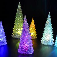 lâmpadas de árvore de fibra óptica venda por atacado-Decorações da árvore de Natal arbol navidad Nova colorido LED Xmas Tree Fiber Optic Nightlight Decoração Lâmpada Luz Mini para casa
