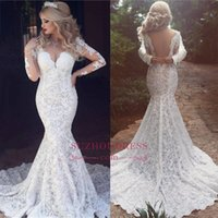 Wholesale white classic style wedding dresses - 2018 Vintage Arabic Dubai Styles Long Sleeves Mermaid Lace Wedding Dress Sexy Open Back V Neck Classic Bridal Gowns