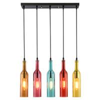 asılı bar ışıkları toptan satış-Vintage LED avize Lamba E27 Kırmızı Şarap Şişesi Cam Kolye Işık Restoran Cafe Bar Otel Şarap Şişesi Asılı Lambaları