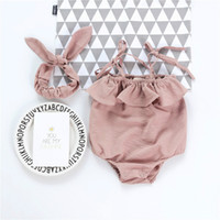Wholesale peach baby clothes for sale - Group buy New Fashion Baby Kids Romper Toddler Kids Peach Cotton Ruffle One piece Jumpsuit with Headband Fashion Children Clothes