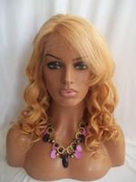 tiefe welle u teil perücken großhandel-Brasilianisches Jungfrau-Haar-Spitze-Front-Menschenhaarperücken # 27 Blonde Haarperücken Lose Wellen-Spitze-Perücke mit Pony 8 '' - 24 '' Auf Lager Freies Verschiffen
