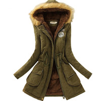 Wholesale womens parka green - Wholesale- 2017 New Parkas Female Women Winter Coat Thickening Cotton Winter Jacket Womens Outwear Parkas for Women Winter