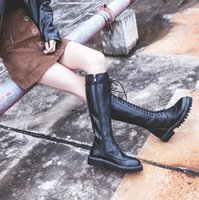 Barato Botas De Inverno Sexy De Qualidade-New Arrival Fashion Vintage Sexy Black Boots High Quality Lace Up Straight Boot Winter Casual Wear para mulheres