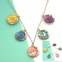 Wholesale Moon Necklace Colors - 12pcs lot Moon necklace beautiful drop oil moon and star charm necklace many colors
