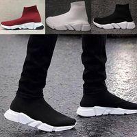 botas de nombre al por mayor-Luxury Brand Balenciaga Sock shoes zapato hombre mujer calcetines botas con la caja de punto de estiramiento botas casuales Race Runner zapatillas de deporte baratos