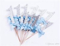 Wholesale ceremony decor for sale - Group buy Gold Glitter Pink Number Cupcake Baby Party Decoration Supplies Decor Card Bowknot Happy Birthday Ceremony Beautiful Popular ss bb