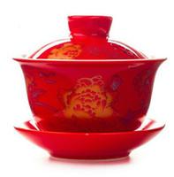 fábrica de gravata vermelha venda por atacado-Promoção tomada de fábrica jingdezhen conjunto de três peças gaiwan branco ou vermelho porcelana kungfu oolong tie guan yin ferramentas de chá