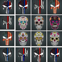 Wholesale flag car decals - New Blue Line Flag Decal - 10*15 CM American Flag skull head Sticker for Cars and Trucks - Wall Window Stickers Decorative Stickers I241