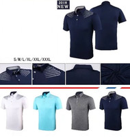 Wholesale U S T Shirts - 2018 U Golf T-shirt summer short sleeve dry fit anti UVA cooling touching sports shirts 4 color OEM available
