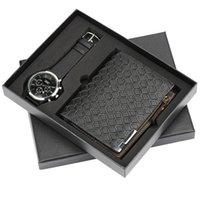 männlicher geschenkset großhandel-Herrenuhr Reloj Masculino Leder Herren Quarz Uhr Geschenk Set mit Geldbörse Moderne schwarze männliche Armbanduhren Reloj Pin Schnalle