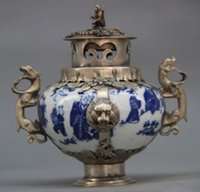 Wholesale Chinese Lion Art - CHINESE OLD PORCELAIN HANDWORK ARMORED KYLIN LION DRAGON INCENSE BURNER white