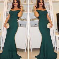 zümrüt yeşil elbiseli elbise toptan satış-Zümrüt Yeşil Abiye Mermaid Potrait Boyun Çizgisi Pilili Elastik Saten Kılıf Kat Uzunluk Arapça Stil Abiye giyim