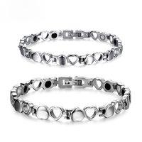 Wholesale Titanium Bracelets For Health - Health Care Magnetic Couple Bracelet Heart Hollowed Out Love Bracelet Titanium Stainless Steel Bracelets For Men Women Romantic Gifts