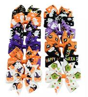 alfileres de bebé de color al por mayor-3 pulgadas bebé Halloween Grosgrain cinta arcos con clip niñas niños calabaza fantasma bebé niña pinwheel pinzas de pelo accesorios pin pernos