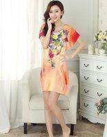 ingrosso camicia da notte arancione-New Orange Sexy Donna Summer Casual Cotton Nightdress Flower Camicia da notte Sleepwear pijama feminino 20 Colori One Size S0130