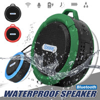 Wholesale waterproof speaker mic resale online - Bluetooth Wireless Speakers Waterproof Shower C6 Speaker With W Strong Deiver Long Battery Life With Mic and Removable Suction Cup