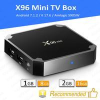 Wholesale flash google - X96 Mini Android 7.1 Amlogic S905W STB tv box 1GB + 8GB 2GB + 16GB eMMC Flash player 17.6 4K Smart Android TV Box VS tx3 MXQ Pro