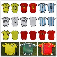 bebê bule venda por atacado-Bebê de Futebol Jersey por 6 a 18 meses 2018 Copa do Mundo Argebtina Espanha México Bélgica Suécia Rússia Kid Football Shirt Jersey