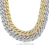 collar de estilo asiático al por mayor-Los hombres calientes del diseño de la manera de la venta gruesos collares 14m m Miami Curb Collar de cadena cubana Collar del Hip Hop de la plata del oro con los Rhinestones