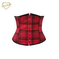 bustiers de filles achat en gros de-Corset écossais rouge à carreaux Haut School Girl Cosplay Burlesque Corsets gothiques à taille sexy