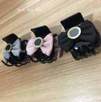 Wholesale ponytails for black hair for sale - New fashion C Hair Claw Ribbion bowknot clips with metal mark Item Fashion Hair Accessories pretty for ponytail party gift for souvenirs