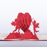 Wholesale valentine red heart - DIY 3D Card Hand Cut Paper Heart Of Cupid Greeting Cards For Valentines Day Wedding Supplies Red 6 9dd B