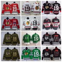 ingrosso usa flag nylon-Chicago Blackhawks 19 Jonathan Toews Jersey Hockey maschile 2017 Winter Classic Black Ice Skull Salute al servizio Army Green USA Flag
