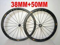 Wholesale cosmic black - Black on Black COSMIC 38MM+ 50MM 700c carbon fiber wheelset 700C road bike full carbon bicycle wheels