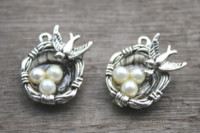 Wholesale birds nest pendant buy cheap birds nest pendant 2018 on wholesale birds nest pendant 5pcs bird nest charms silver tone with pearl like beads simply aloadofball Choice Image