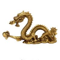 zodiac feng shui venda por atacado-Fine dragão de cobre sólido Mobiliário Doméstico Feng Shui Zodíaco dragão decoração artesanato
