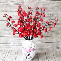 ingrosso cherry blossom fake flowers-3pcs fiori artificiali Cherry Blossom Bridal Decor Fiori Bouquet Seta Fiori finti Decorazione Matrimonio Decorativo fai da te