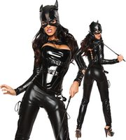 Wholesale catwoman sexy cosplay for sale - Group buy Fetish Clubwear Halloween Dress Sexy wild cat Siamese cat girl bronzing Cosplay black Catwoman Costume Party dress CA0104