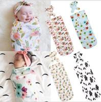 Wholesale swaddling clothes online - 2Pcs Set Newborn Fashion Baby Swaddle Blanket Baby Sleeping Swaddle Muslin Wrap Headband Swaddle Wraps Sleepsacks KKA5333