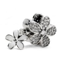 Wholesale Real Sterling Silver Clear CZ White Enamel Florals Beads Fit Charms DIY Bracelets Necklaces Jewelry Gift