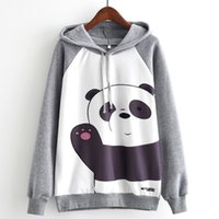 толстовка панда оптовых-Woman Sweatshirt Panda Say Hello Print Women Hoodie Long sleeve Sweatshirt Hoody Tops Jacket Jumpers Clothes