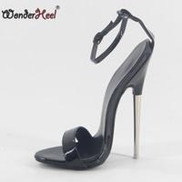 ingrosso cinghie di caviglia tacchi di vernice nera-Wonderheel 2018 estate tacco altissimo tacco 18cm tacco nero brevetto sexy fetish tacco alto cinturini alla caviglia stile moda donna sandali