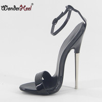 9dfbecb31459 Wonderheel 2018 summer Extreme high heel 18cm heel black patent Sexy fetish High  Heel ankle straps fashion style women sandals