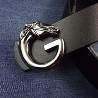 Wholesale metal horse head - For Men Genuine Leather Belt Casual Anti Wear Waistband Metal Horse Head Smooth Buckle Waist Belts Popular 20tn B