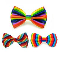 Wholesale Vertical Striped Dress Women - Rainbow Vertical Rainbow Harizontal Colorful Oblique Striped Colors Men`s women`s Tuxedo Dress Bow tie wedding party Butterfly
