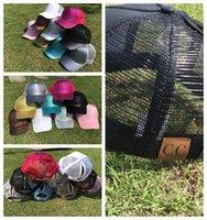 Wholesale wholesale crocheted hats - 9 color CC Glitter Ponytail Baseball Cap Women Messy Bun Baseball Cap Girls Snapback Caps Summer Sports Mesh Hats KKA4555