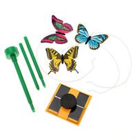 papillons de danse à énergie solaire achat en gros de-LCLL-Solar Powered 3pcs dansant le papillon volant avec le bâton pour le décor de jardin de jardin