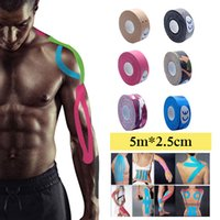 grey tape Canada - 5m x 2.5cm Kinesiology tape Roll Cotton Elastic Adhesive Sticker Physio Strain Support Muscle patch Kinesios Tape Bandage
