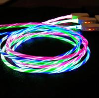 iluminar los cables de carga usb al por mayor-2.4A LED Flowing Light Up Micro USB Tipo-C Cable de carga para teléfono Android Samsung HTC LG Cable de carga 1m