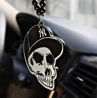 Wholesale Skeleton Woman - Skeleton Head Car Pendant Emblem Car Style Suspension Auto Mirror Decor Ornaments Hanging Suspension Christmas Gift EEA260