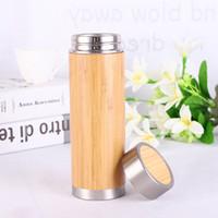 copo de água de bambu venda por atacado-450 ML Garrafa De Água De Bambu Isolamento A Vácuo De Viagem De Café Copo A Vácuo Com Chá Infusor Filtro Garrafa De Madeira